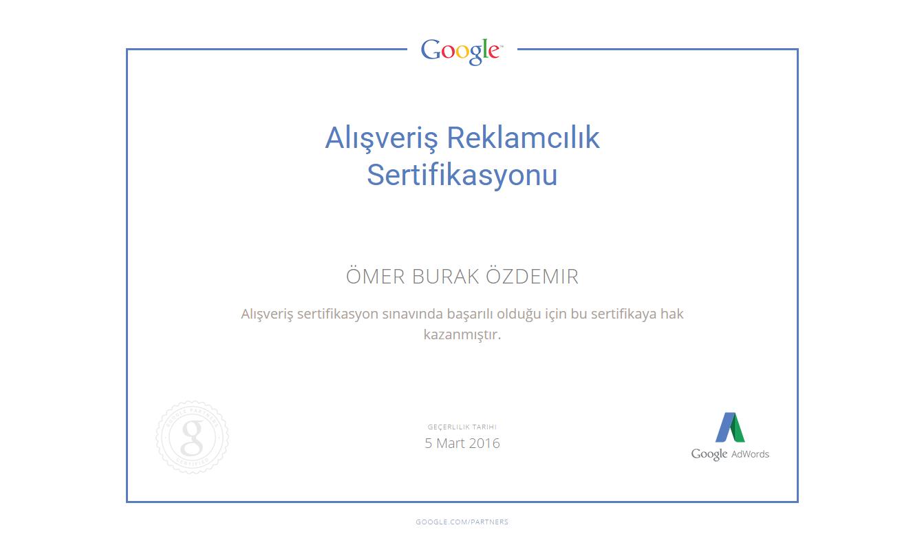 Google Alışveriş Reklamcılık Sertifikası